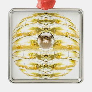 Ornamento De Metal Teste padrão da colmeia da abelha da bola do disco