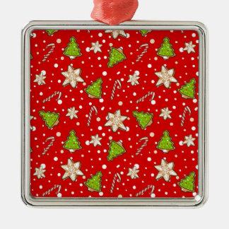 Ornamento De Metal Teste padrão do Natal dos biscoitos do gengibre