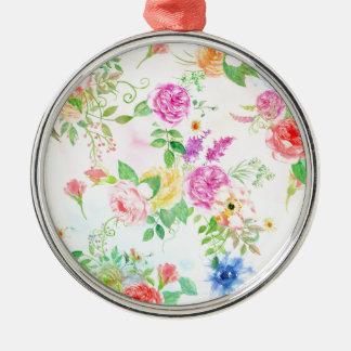 Ornamento De Metal Teste padrão do pêssego da aguarela e do rosa