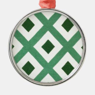 Ornamento De Metal Teste padrão do triângulo de Forest Green