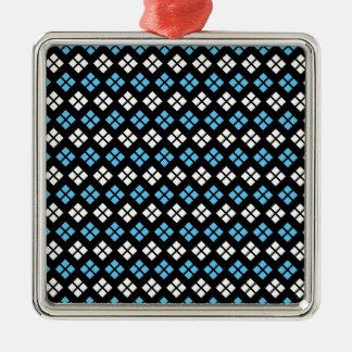 Ornamento De Metal Teste padrão elegante de Argyle dos azul-céu & do