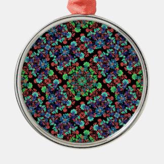Ornamento De Metal Teste padrão floral colorido da colagem