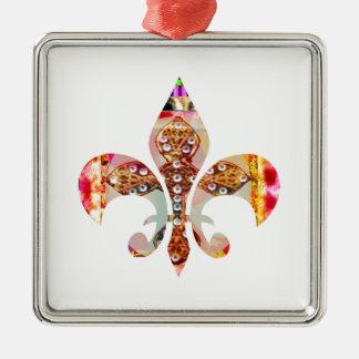 Ornamento De Metal Teste padrão floral da jóia de Fleur di lis Flor
