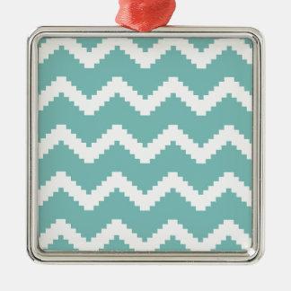 Ornamento De Metal Teste padrão geométrico do ziguezague - azul e
