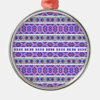 Ornamento De Metal Teste padrão ornamentado listrado do vintage