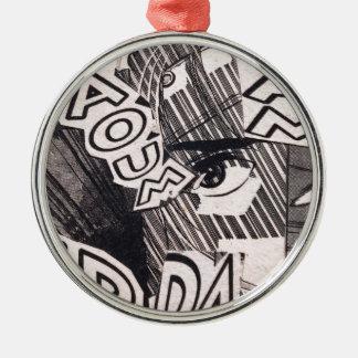 Ornamento De Metal Teste padrão preto e branco da história em