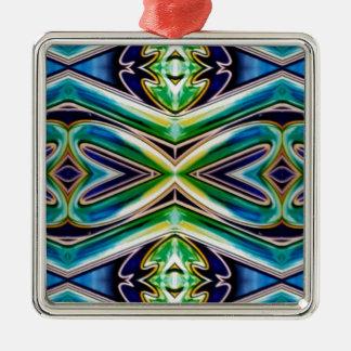 Ornamento De Metal Teste padrão reconfortante do pop azul do verde de