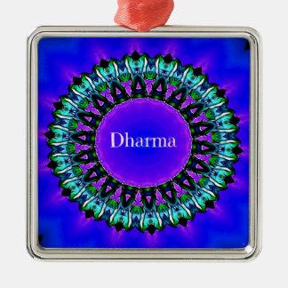 Ornamento De Metal Teste padrão roxo da mandala de Darma das verdades