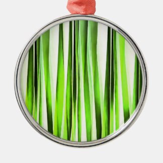 Ornamento De Metal Teste padrão Stripy verde eterno