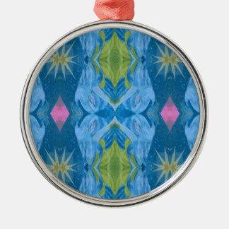 Ornamento De Metal Teste padrão tribal de Starburst do limão azul