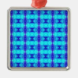 Ornamento De Metal Teste padrão tribal dos azuis marinhos azuis de