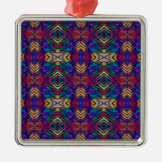 Ornamento De Metal Teste padrão tribal roxo dos azuis profundos da