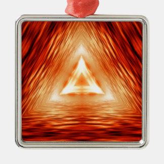 Ornamento De Metal Teste padrão vermelho do triângulo