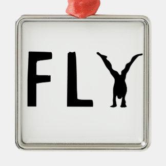 Ornamento De Metal Texto engraçado da mosca e design humano