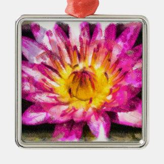 Ornamento De Metal Tinta roxa da aguarela do lírio de água