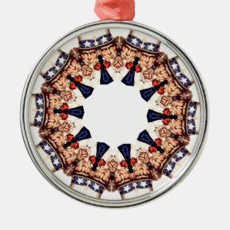 Ornamento De Metal Tio Sam que aponta o caleidoscópio do dedo