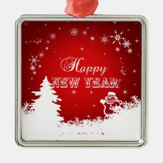 Ornamento De Metal Tipografia vermelha e branca do feliz ano novo