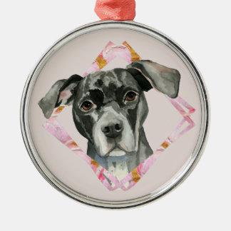 """Ornamento De Metal """"Todas as orelhas"""" pintura da aguarela do cão de 2"""