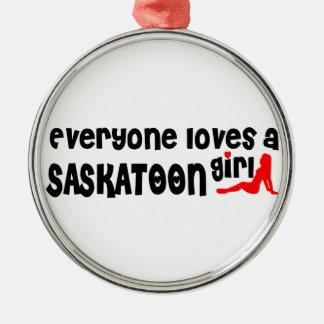 Ornamento De Metal Todos ama uma menina de Saskatoon