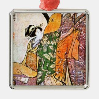 Ornamento De Metal Trabalhos de arte japoneses da gueixa do vintage