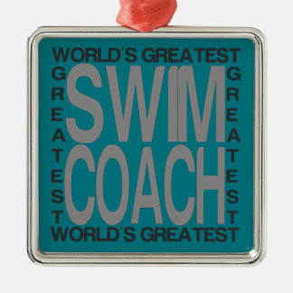Ornamento De Metal Treinador da natação dos mundos o grande
