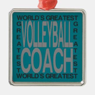 Ornamento De Metal Treinador do voleibol dos mundos o grande