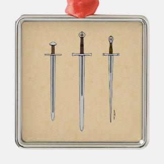 Ornamento De Metal Três espadas medievais 2016