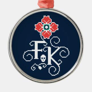 Ornamento De Metal Tributo floral de Frida Kahlo |