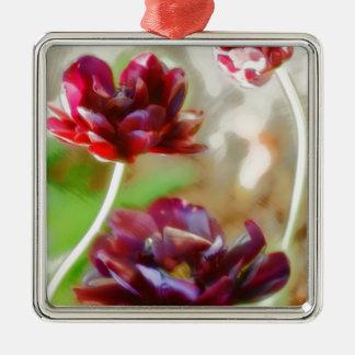 Ornamento De Metal Trio de florescência da tulipa da peônia escura do