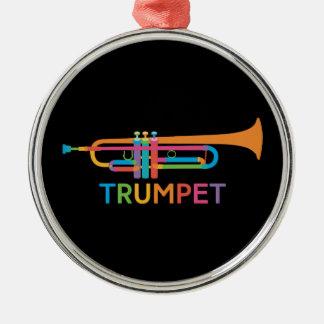 Ornamento De Metal Trombeta vibrante em cores do arco-íris