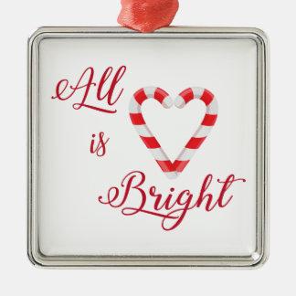 Ornamento De Metal Tudo é coração brilhante do bastão de doces do