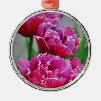 Ornamento De Metal Tulipas cor-de-rosa do papagaio
