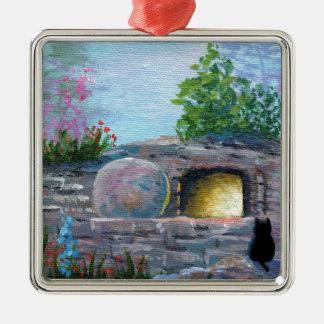 Ornamento De Metal Túmulo vazio da arte cristã do gato da páscoa