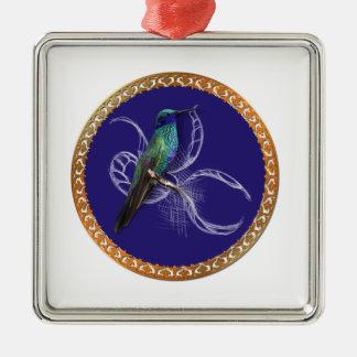 Ornamento De Metal Turquesa verde e azul com colibri roxo