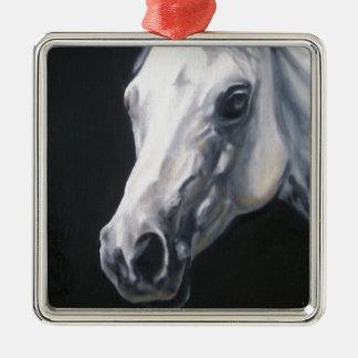 Ornamento De Metal Um cavalo branco