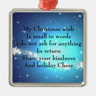 Ornamento De Metal Um desejo do Natal