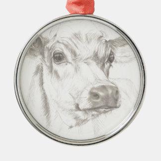 Ornamento De Metal Um desenho de uma vaca nova