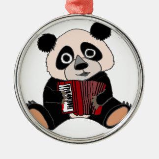 Ornamento De Metal Urso de panda engraçado que joga o acordeão