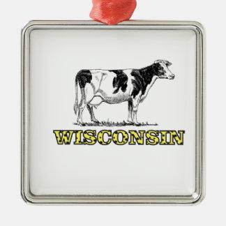 Ornamento De Metal Vaca de leiteria de Wisconsin