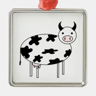 Ornamento De Metal Vaca ilustrada
