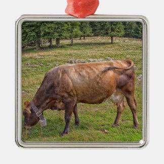 Ornamento De Metal vaca que come em um prado