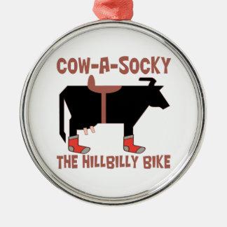 Ornamento De Metal Vaca-Um-Socky a bicicleta do HillBilly