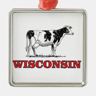 Ornamento De Metal vaca vermelha de Wisconsin