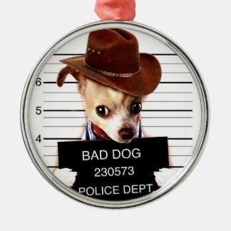 Ornamento De Metal vaqueiro da chihuahua - cão do xerife