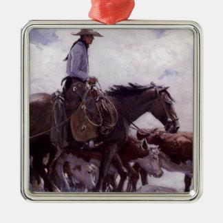 Ornamento De Metal Vaqueiro do vintage com seu rebanho do gado por