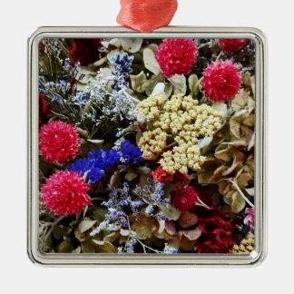 Ornamento De Metal Variedade de flores secadas