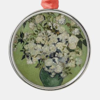 Ornamento De Metal Vaso de Vincent van Gogh dos rosas que pintam a