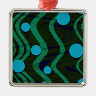 Ornamento De Metal Verde azul marmoreado da onda do ponto