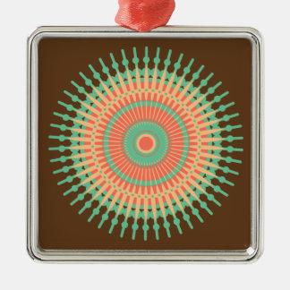 Ornamento De Metal Verde do design da mandala, indiano alaranjado