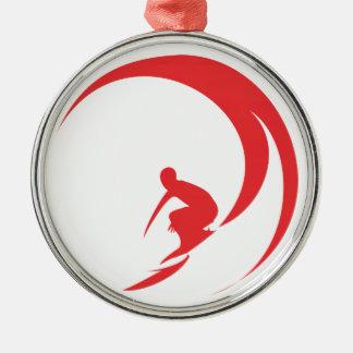 Ornamento De Metal Vermelho do surfista